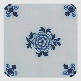 Blaue Fliese klassischer Antiquarian-Delfts - Quadrat-Aufkleber