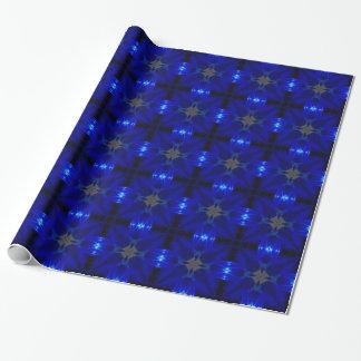 Blaue Fliesen, die Papper einwickeln Geschenkpapier
