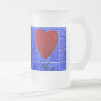 Blaue Fliesen Hintergrund Love you Mattglas Bierglas