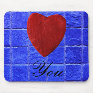 Blaue Fliesen Hintergrund Love you Mousepad