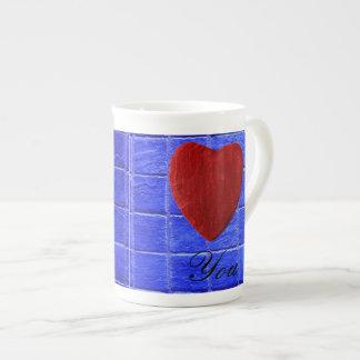 Blaue Fliesen Hintergrund Love you Porzellantasse