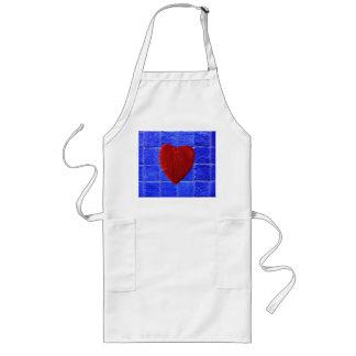 Blaue Fliesen Hintergrund mit Herz Lange Schürze