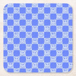 Blaue Fliesen mit Lächeln Rechteckiger Pappuntersetzer