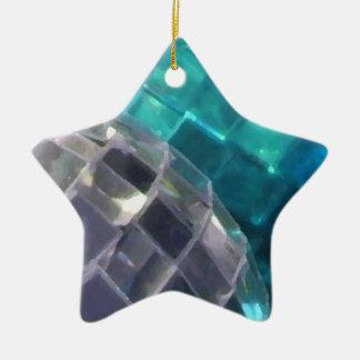 Blaue Flitterdetail-Sternverzierung Keramik Ornament