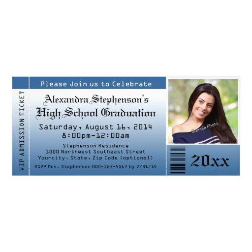 Blaue Foto-Abschluss-Karten-Einladungen