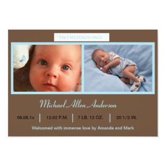 Blaue Foto-Geburts-Mitteilung 12,7 X 17,8 Cm Einladungskarte