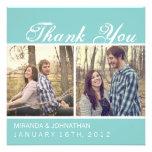 Blaue Foto-Hochzeit danken Ihnen Karten Ankündigungskarte