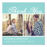 Blaue Foto-Hochzeit danken Ihnen Karten Quadratische 13,3 Cm Einladungskarte