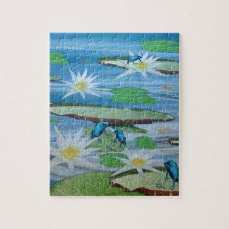 Blaue Frösche auf Lilien-Auflagen, Puzzle
