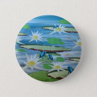 Blaue Frösche auf Lilien-Auflagen, Runder Button 5,7 Cm