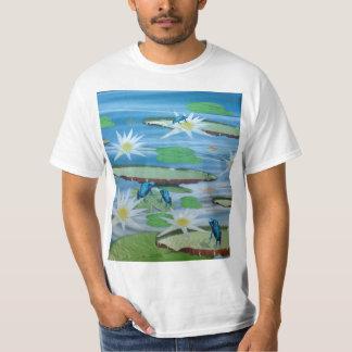Blaue Frösche auf Lilien-Auflagen, T-Shirt
