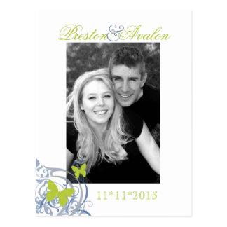 Blaue Frühlings-Schmetterlings-Save the Date Postkarte