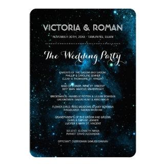 Blaue Galaxie-Hochzeits-Programme Karte