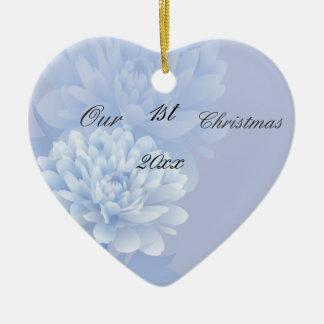 Blaue Gartennelken Keramik Ornament