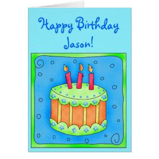 Blaue Geburtstags-Karte mit Kuchen Grußkarte