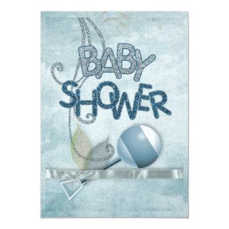 Blaue Geklapper Babyshower Einladung 12,7 X 17,8 Cm Einladungskarte
