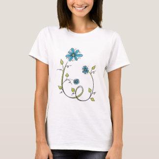 Blaue Gekritzel-Blume T-Shirt