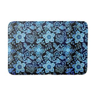 Blaue Gekritzel-Kunst-wunderliche Natur Badematte