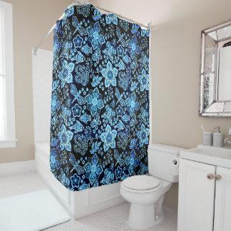 Blaue Gekritzel-Kunst-wunderliche Natur Duschvorhang