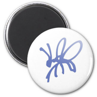 Blaue Gekritzel-Wanze Runder Magnet 5,1 Cm