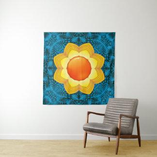 Blaue gelb-orangee Wand-Tapisserie The Suns Wandteppich