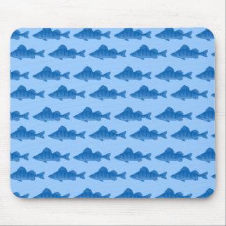 Blaue gelbe Stangen-Fische Mousepads