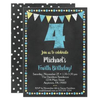 Blaue gelbe Tafel-4. Geburtstags-Einladung Karte