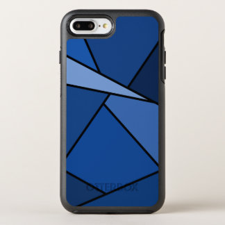 Blaue geometrische Formen umrissen im Schwarzen OtterBox Symmetry iPhone 8 Plus/7 Plus Hülle
