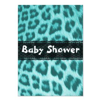 Blaue Gepard-Spitze-Druck-Babyparty-Einladung
