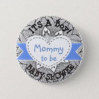 Blaue gestreifte Babyparty-Knopf-Mamma, zum Knopf Runder Button 5,7 Cm