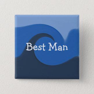"""""""Blaue Gezeiten-"""" - Trauzeuge Quadratischer Button 5,1 Cm"""