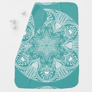 Blaue gezierte Mandala Babydecke