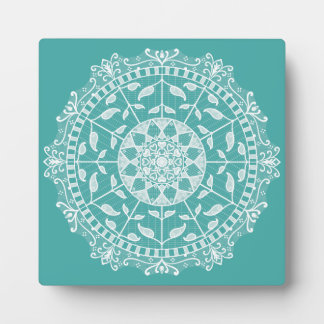 Blaue gezierte Mandala Fotoplatte