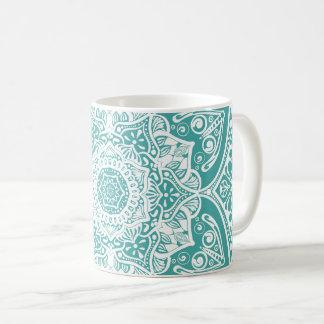 Blaue gezierte Mandala Kaffeetasse