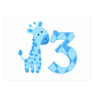 Blaue Giraffen-3. Geburtstag Postkarten