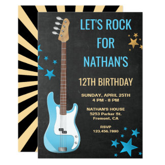 Blaue Gitarren-Felsen-Stern-Geburtstags-Party Karte
