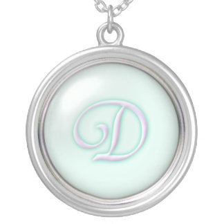Blaue Glasmonogramm-Halskette - Buchstabe D