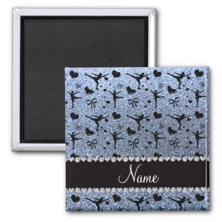 Blaue Glitterpastellzahl Skaten des individuellen Quadratischer Magnet