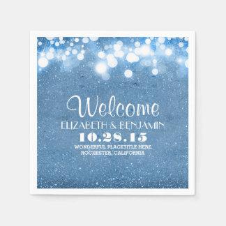 blaue Glitterschnur beleuchtet Hochzeitsservietten Serviette