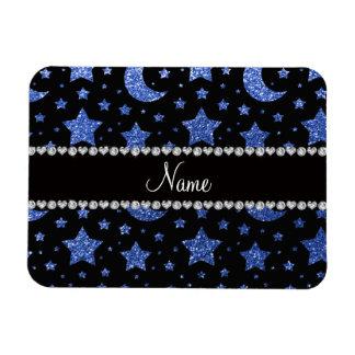 Blaue Glittersterne und -monde des individuellen Vinyl Magnete