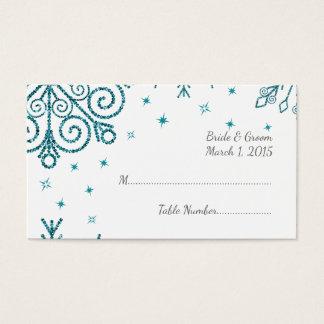 Blaue Glittery Schneeflocke-Winter-Hochzeit Visitenkarte
