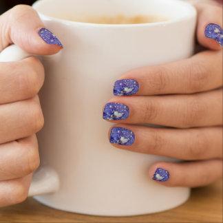 Blaue Glitzern und Liebe-Herzen Minx Nagelkunst