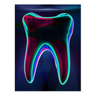 Blaue glühende Zahn-zahnmedizinische Postkarte