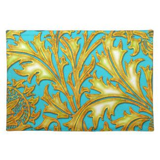 Blaue Golddistel Stofftischset