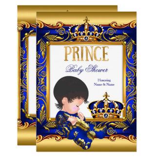 Blaue Goldfolie Prinz-Babyparty Karte