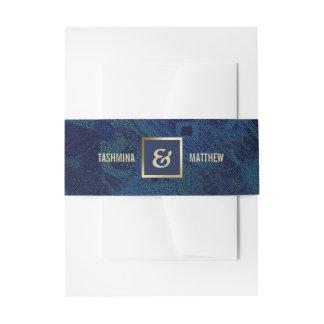 Blaue Goldhochzeits-Einladungs-Bauch-Bänder des Einladungsbanderole