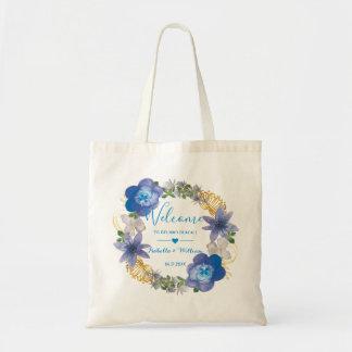 Blaue Goldhydrangeas-Blumenhochzeits-Bevorzugung Tragetasche