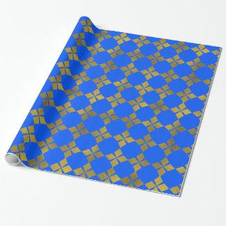 Blaue GoldImitat-Folien-Blumen-Muster-Papier-Rolle Geschenkpapier