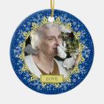 Blaue Goldschneeflocke-ErinnerungsFoto-Weihnachten