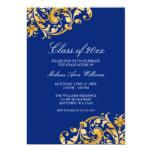 Blaue Goldstrudel-Abschluss-Party-Mitteilung Personalisierte Einladung